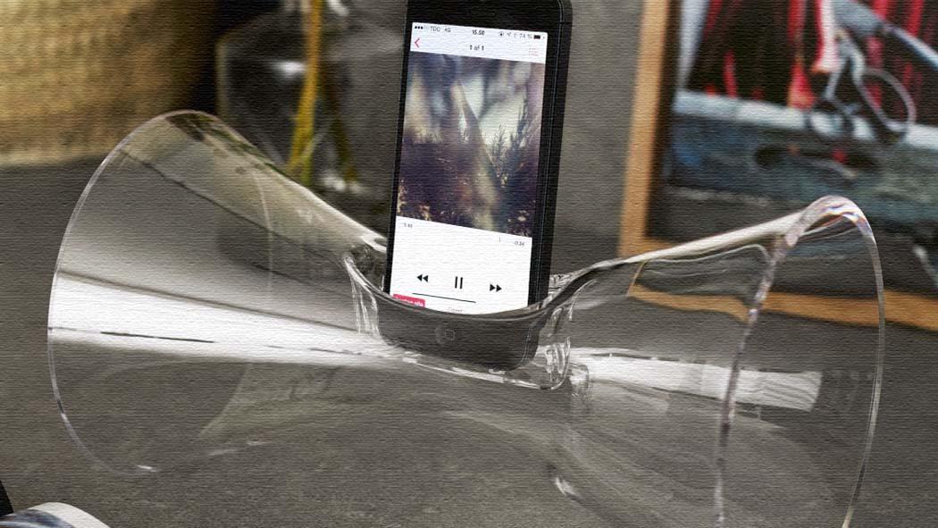 電気不要!北欧ガラス製おしゃれiPhone用スピーカーUrania