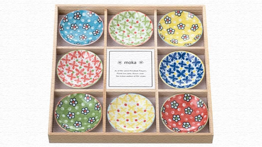 小花の絵柄がかわいい小皿「moka」木箱入り8枚セット