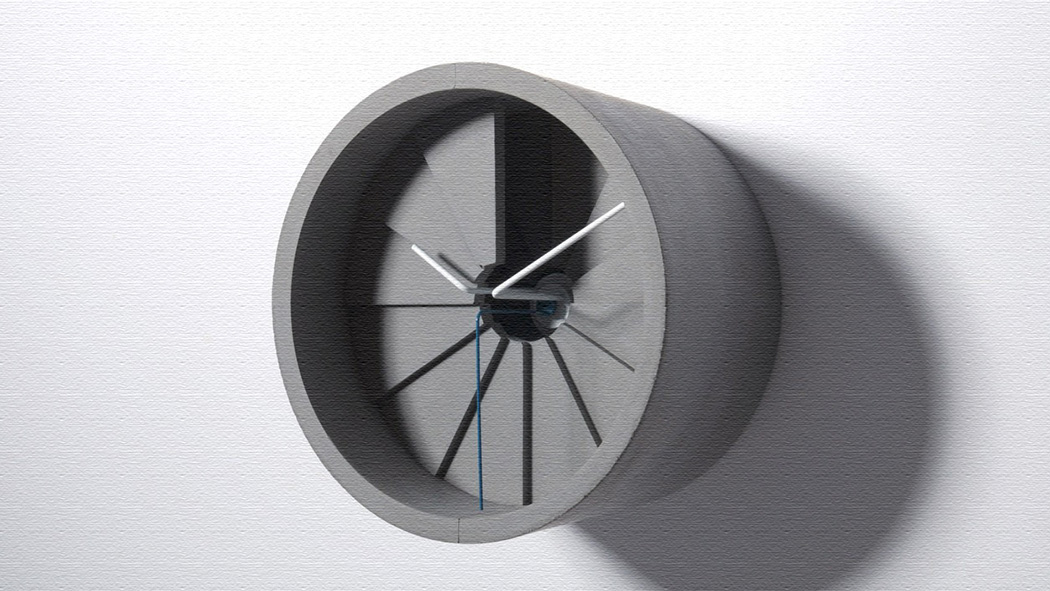 セメントで作られた壁掛け4次元時計!素材感がおしゃれ!