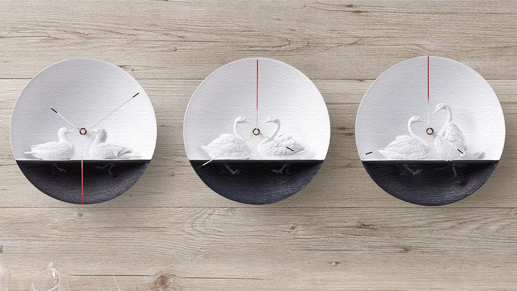 2羽の鳥が見つめ合う壁掛け時計!プレゼントに!(ウォーターバードクロック)