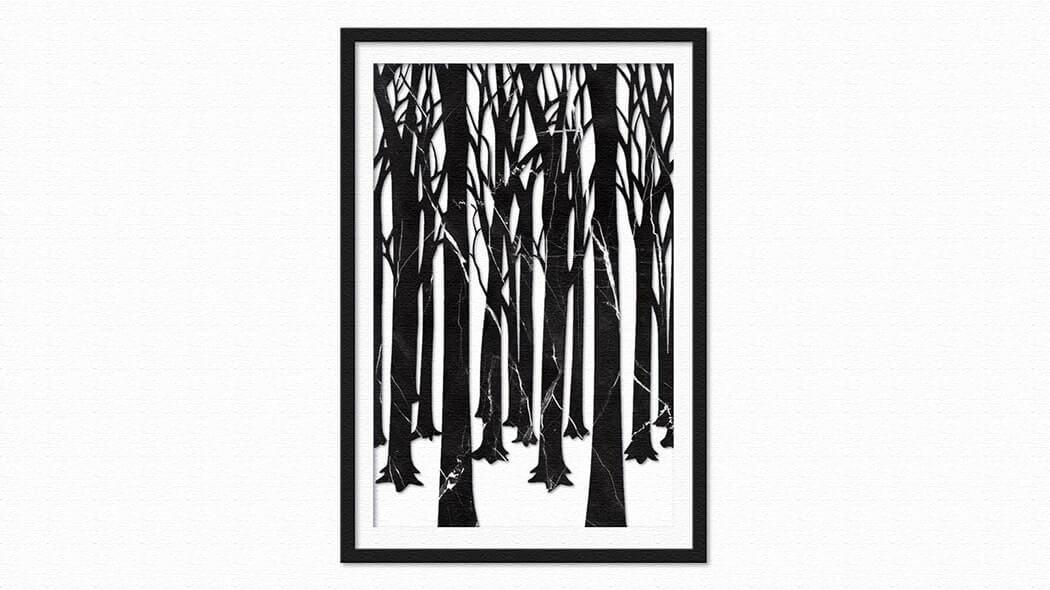 大理石で作られたウォールアートWinter Dark Forest(ウィンターダークフォレスト)