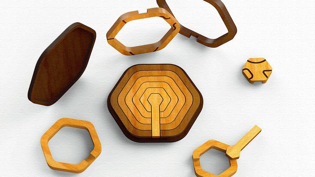 Echo(エコー) 幾何学デザインの木のパズル