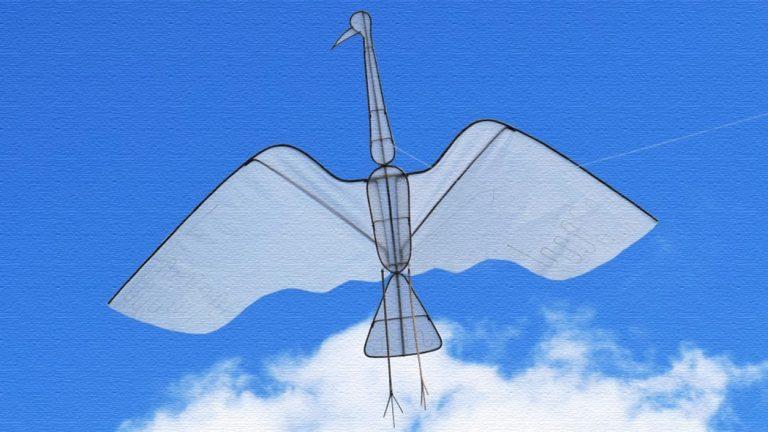 鶴が空を舞う!鶴型の凧「クレーンカイト(Crane Kite)」