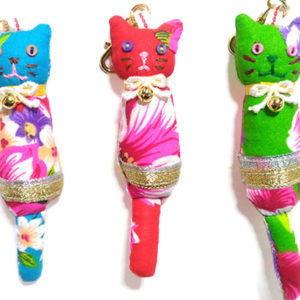 ネコノコ|台湾布のビビッドなカラーがかわいい猫チャーム