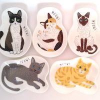 豆皿に猫が寝っ転がったかわいい5枚組セット!MEOW!MEOW!NEKOシリーズ
