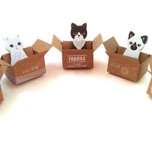 拾ってください!かわいい箱入りネコのメモ帳